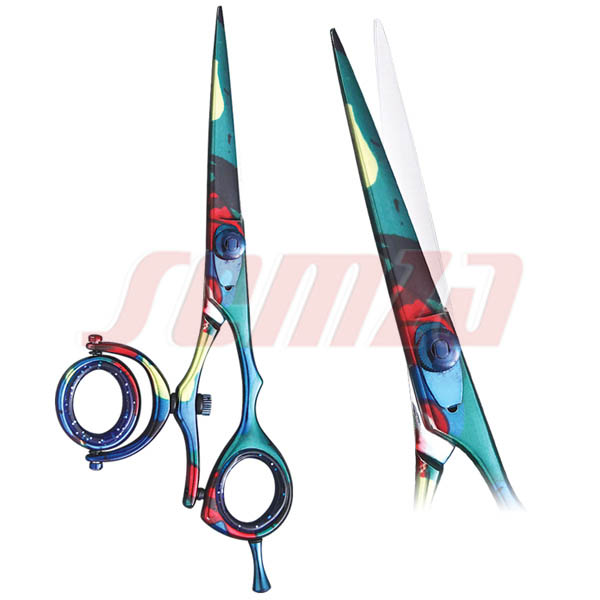 Professional razor scissor convex edge, Adjustable screw triple rings with rotatable ring with fixed hook,Honed blade.satin, mirror, Gold plated, Glass bead, and any color.
